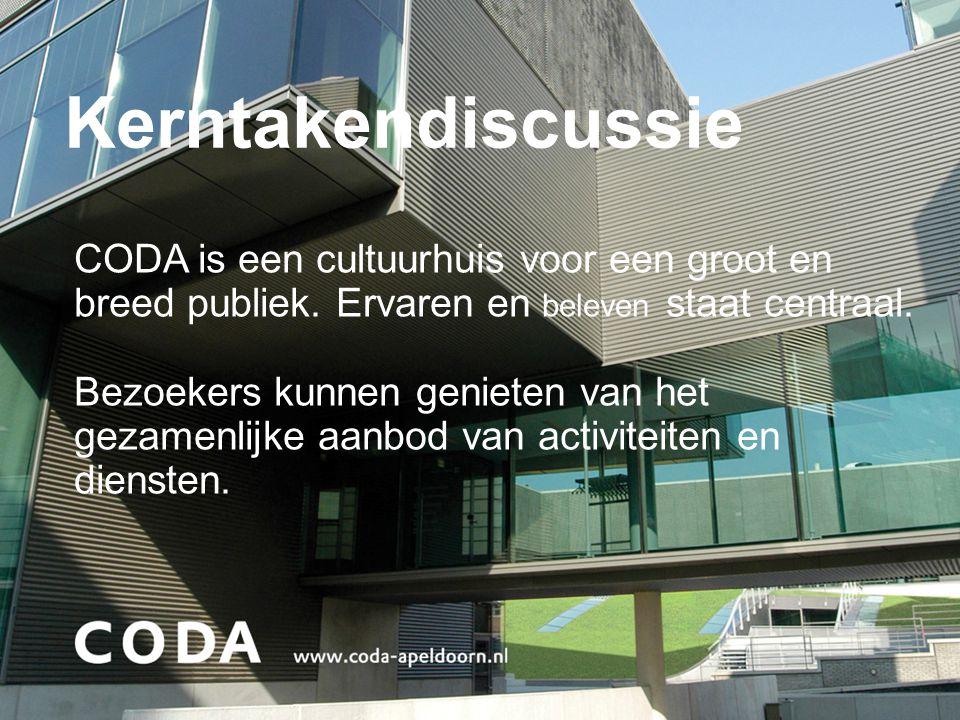 Kerntakendiscussie CODA is een cultuurhuis voor een groot en breed publiek. Ervaren en beleven staat centraal. Bezoekers kunnen genieten van het gezam