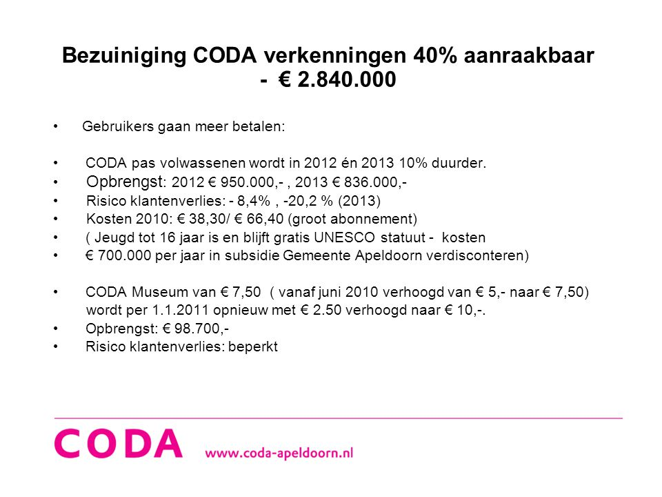 Bezuiniging CODA verkenningen 40% aanraakbaar - € 2.840.000 • Gebruikers gaan meer betalen: • CODA pas volwassenen wordt in 2012 én 2013 10% duurder.