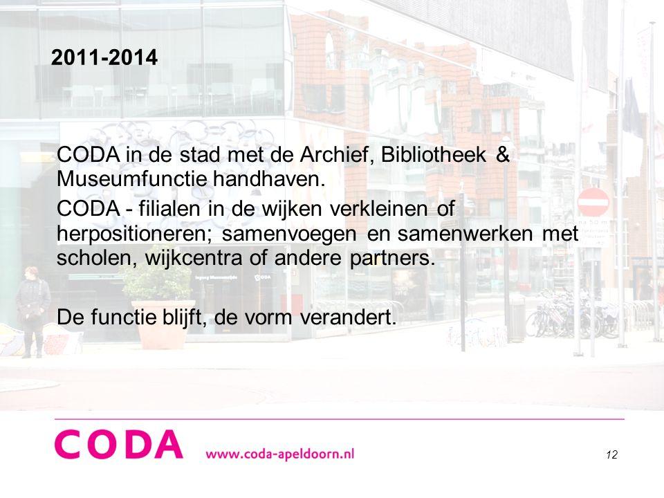 12 2011-2014 CODA in de stad met de Archief, Bibliotheek & Museumfunctie handhaven. CODA - filialen in de wijken verkleinen of herpositioneren; samenv