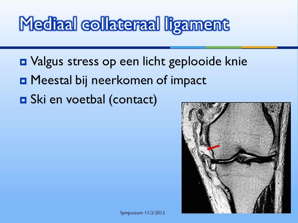  Valgus stress op een licht geplooide knie  Meestal bij neerkomen of impact  Ski en voetbal (contact) Symposium 11/2/2012