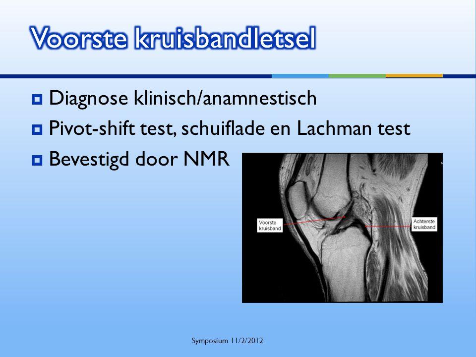  Diagnose klinisch/anamnestisch  Pivot-shift test, schuiflade en Lachman test  Bevestigd door NMR Symposium 11/2/2012
