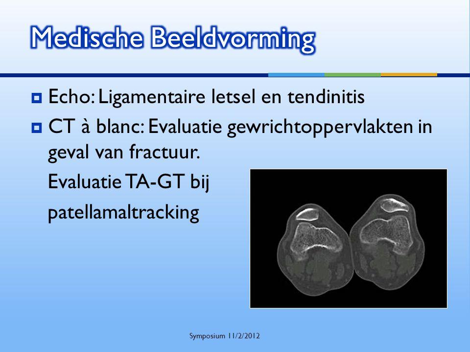  Echo: Ligamentaire letsel en tendinitis  CT à blanc: Evaluatie gewrichtoppervlakten in geval van fractuur. Evaluatie TA-GT bij patellamaltracking S