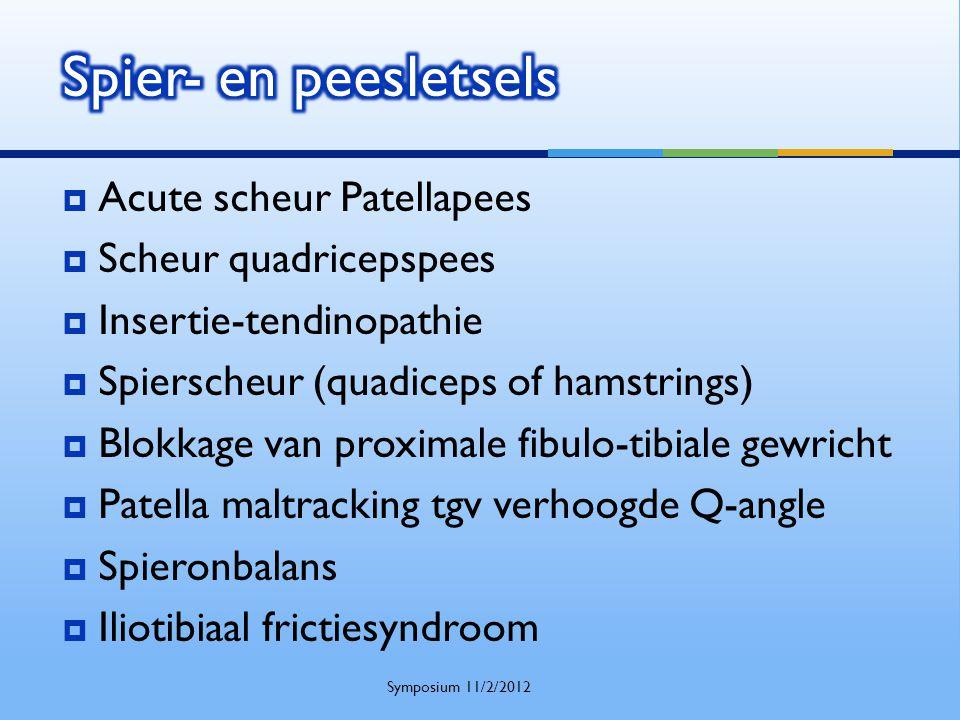  Acute scheur Patellapees  Scheur quadricepspees  Insertie-tendinopathie  Spierscheur (quadiceps of hamstrings)  Blokkage van proximale fibulo-ti