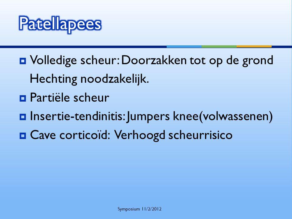  Volledige scheur: Doorzakken tot op de grond Hechting noodzakelijk.  Partiële scheur  Insertie-tendinitis: Jumpers knee(volwassenen)  Cave cortic