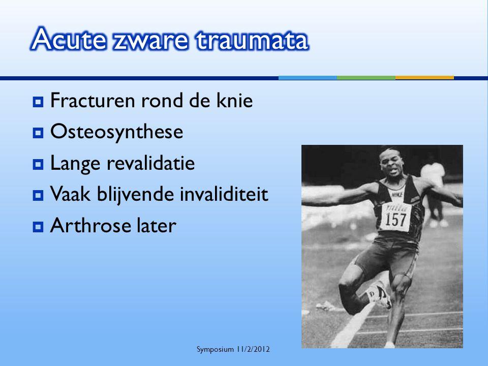  Fracturen rond de knie  Osteosynthese  Lange revalidatie  Vaak blijvende invaliditeit  Arthrose later Symposium 11/2/2012