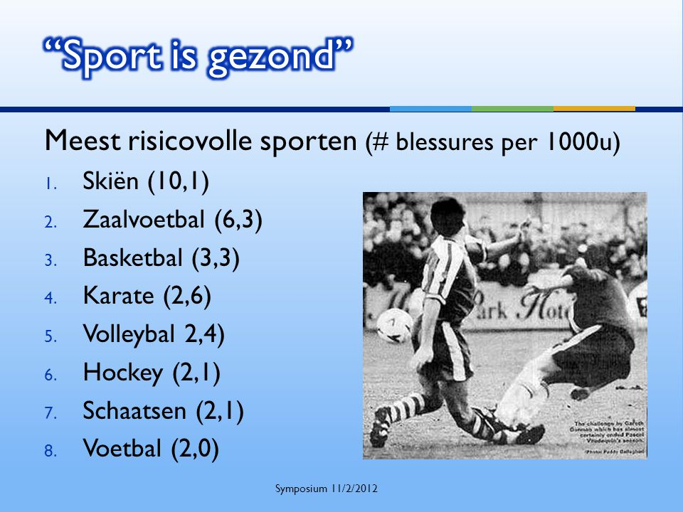 Meest risicovolle sporten (# blessures per 1000u) 1. Skiën (10,1) 2. Zaalvoetbal (6,3) 3. Basketbal (3,3) 4. Karate (2,6) 5. Volleybal 2,4) 6. Hockey