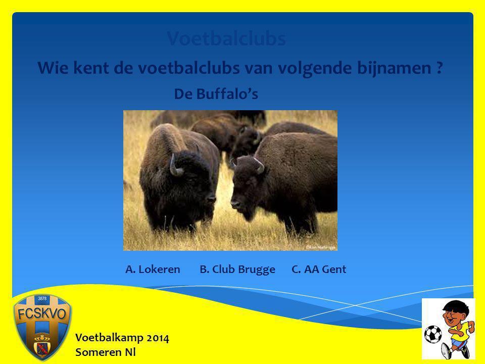 Voetbalkamp 2014 Someren Nl Voetbalclubs Wie kent de voetbalclubs van volgende bijnamen ? De Buffalo's A. Lokeren B. Club Brugge C. AA Gent