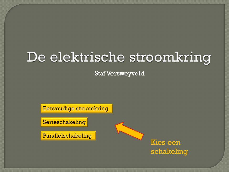 De elektrische stroomkring Staf Versweyveld Eenvoudige stroomkring Serieschakeling Parallelschakeling Kies een schakeling