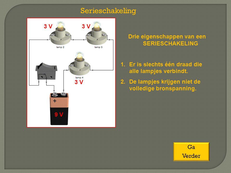 Serieschakeling Drie eigenschappen van een SERIESCHAKELING 1.Er is slechts één draad die alle lampjes verbindt. 2.De lampjes krijgen niet de volledige