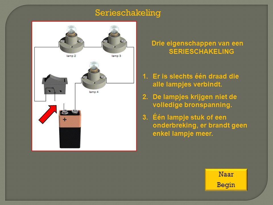 Drie eigenschappen van een SERIESCHAKELING 1.Er is slechts één draad die alle lampjes verbindt. 2.De lampjes krijgen niet de volledige bronspanning. 3