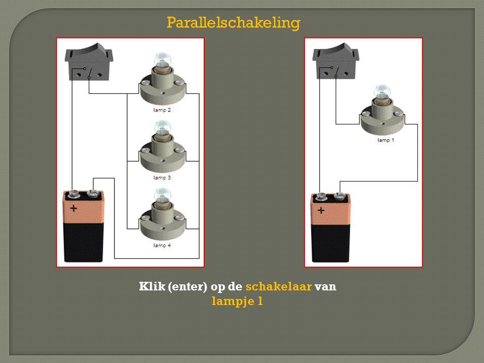 Klik (enter) op de schakelaar van lampje 1 Parallelschakeling