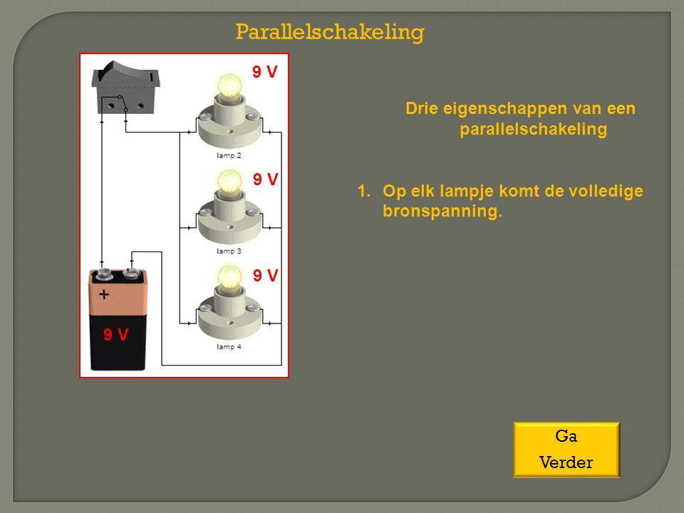 Drie eigenschappen van een parallelschakeling 1.Op elk lampje komt de volledige bronspanning. Parallelschakeling 9 V Ga Verder