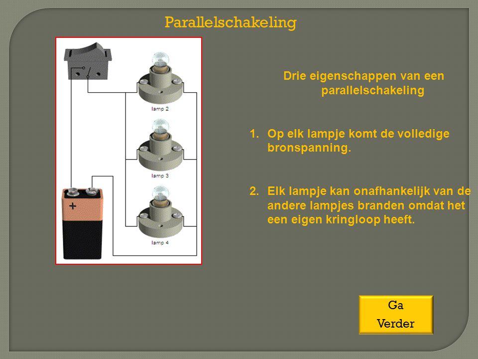 Drie eigenschappen van een parallelschakeling 1.Op elk lampje komt de volledige bronspanning. 2.Elk lampje kan onafhankelijk van de andere lampjes bra