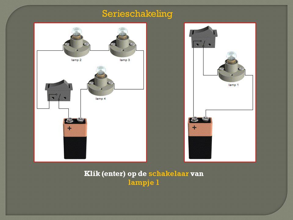 Serieschakeling Klik (enter) op de schakelaar van lampje 1