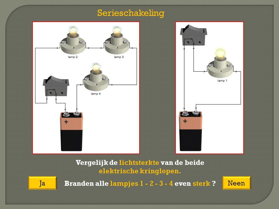 Serieschakeling Vergelijk de lichtsterkte van de beide elektrische kringlopen. Branden alle lampjes 1 - 2 - 3 - 4 even sterk ? JaNeen