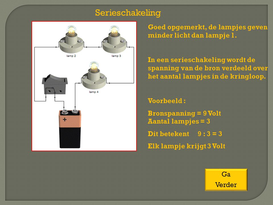 Goed opgemerkt, de lampjes geven minder licht dan lampje 1. In een serieschakeling wordt de spanning van de bron verdeeld over het aantal lampjes in d