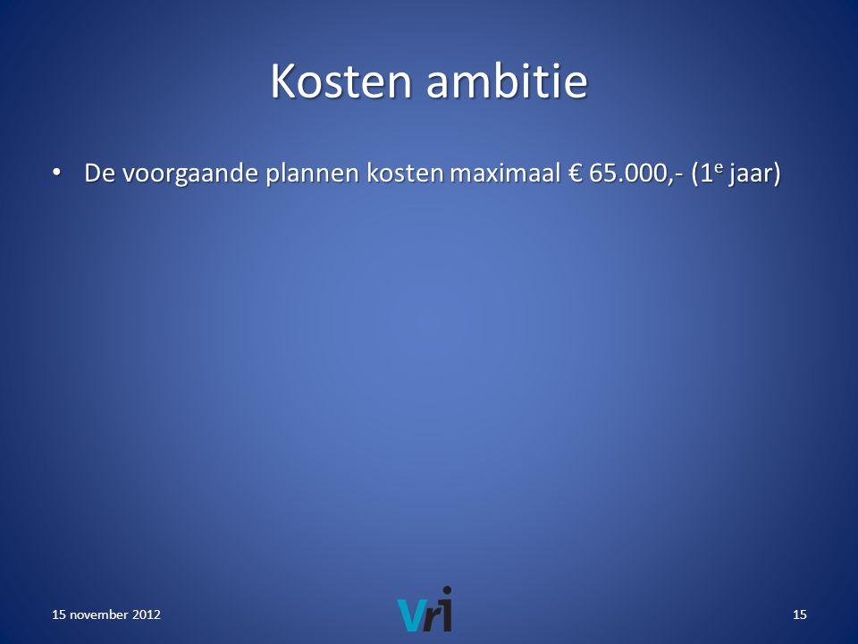 Kosten ambitie • De voorgaande plannen kosten maximaal € 65.000,- (1 e jaar) 15 november 201215