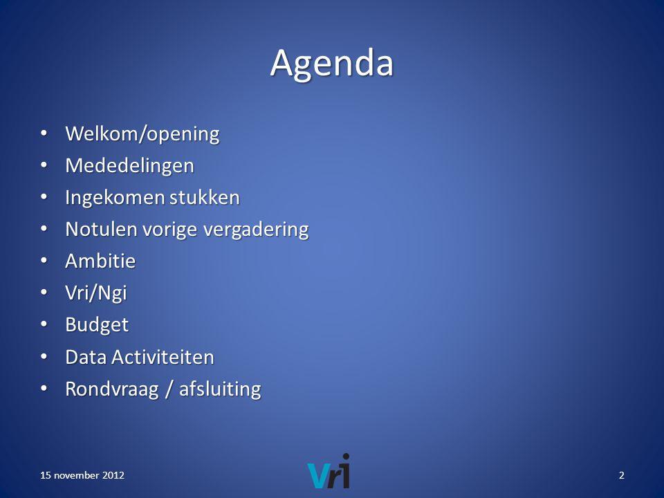 Agenda • Welkom/opening • Mededelingen • Ingekomen stukken • Notulen vorige vergadering • Ambitie • Vri/Ngi • Budget • Data Activiteiten • Rondvraag / afsluiting 15 november 20122