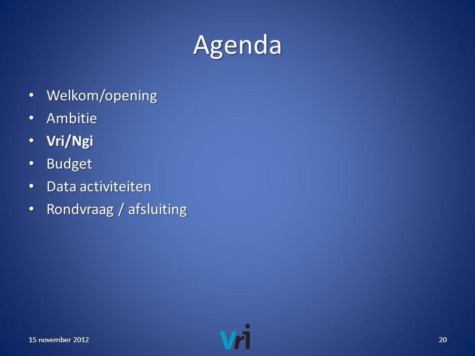 Agenda • Welkom/opening • Ambitie • Vri/Ngi • Budget • Data activiteiten • Rondvraag / afsluiting 15 november 201220