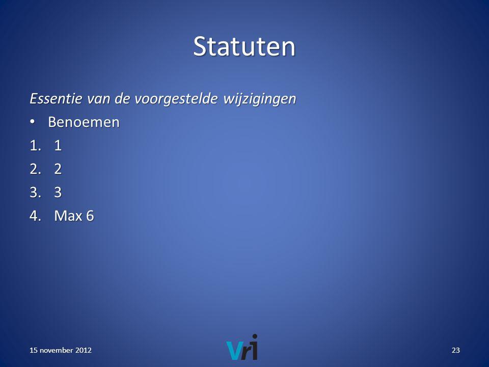 Statuten Essentie van de voorgestelde wijzigingen • Benoemen 1.1 2.2 3.3 4.Max 6 15 november 201223