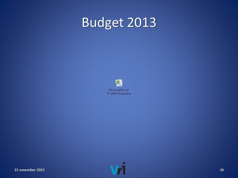 Budget 2013 15 november 201226