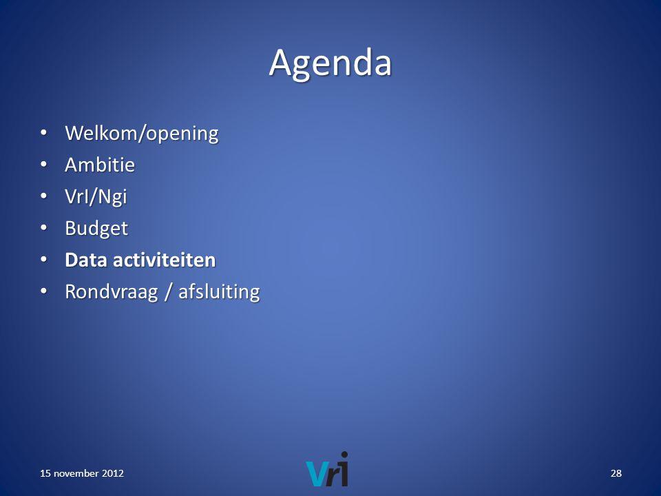 Agenda • Welkom/opening • Ambitie • VrI/Ngi • Budget • Data activiteiten • Rondvraag / afsluiting 15 november 201228