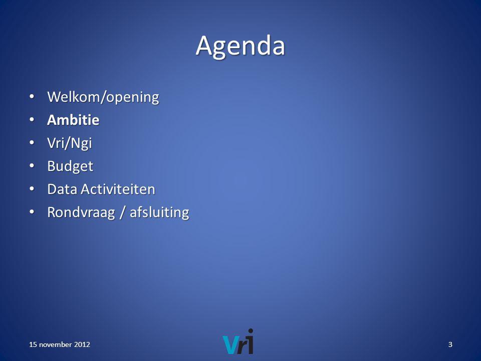 Agenda • Welkom/opening • Ambitie • Vri/Ngi • Budget • Data Activiteiten • Rondvraag / afsluiting 15 november 20123