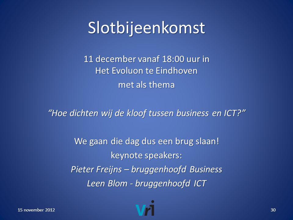 Slotbijeenkomst 11 december vanaf 18:00 uur in Het Evoluon te Eindhoven met als thema Hoe dichten wij de kloof tussen business en ICT We gaan die dag dus een brug slaan.