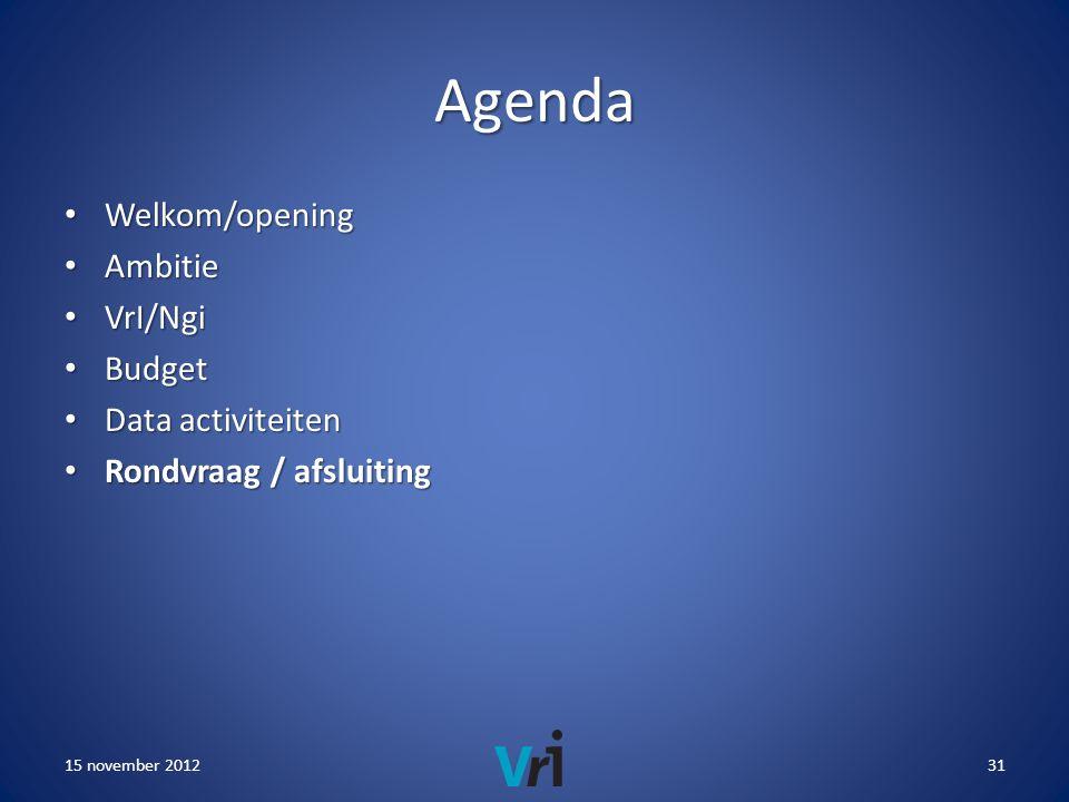 Agenda • Welkom/opening • Ambitie • VrI/Ngi • Budget • Data activiteiten • Rondvraag / afsluiting 15 november 201231
