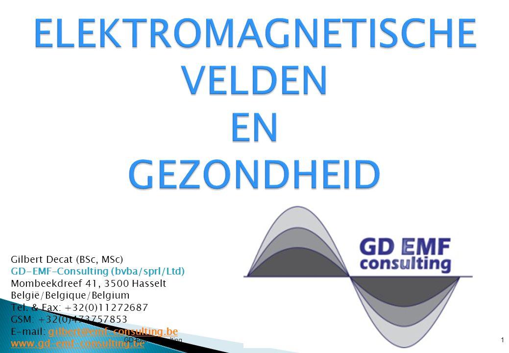  STATISCHE ELEKTRISCHE VELDEN: 0 Hz  dringen niet in het lichaam  induceren oppervlakteladingen op de menselijke huid  E-veld > 25 kVm -1 : hinderlijke sensatie bij mens  STATISCHE MAGNETISCHE VELDEN: 0 Hz  induceren elektrisch veld in vloeistoffen en weefsels  beweging induceert AC-stroom in het lichaam  TIJDSVARIERENDE E- en B-VELDEN < 100 kHz  induceren stroom in het lichaam  geïnduceerde stroom evenredig met de frequentie  RF-velden > 100 kHz tot 300 GHz)  induceren lichaamswarmte  SAR =  E²/  [  = conductiviteit (Sm -1 ) &  = weefseldichtheid kgm -3 ] GD-EMF-Consulting12