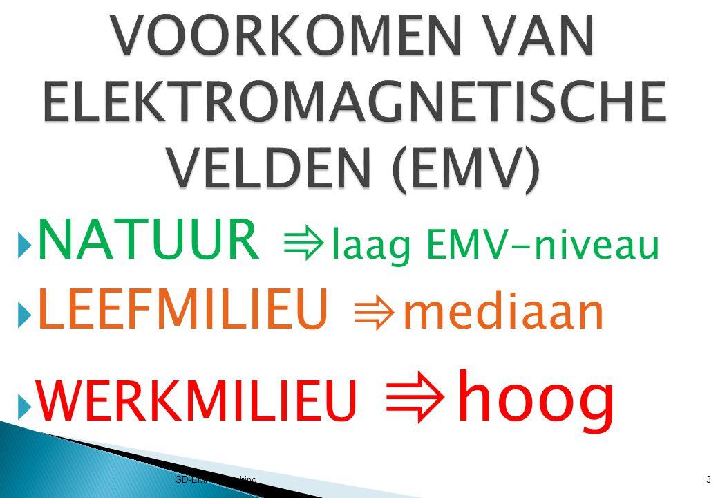 SOORT VELDFREQ.VELD- STERKTE STATISCH ELEKTRISCH0 Hz130 V/m STATISCH MAGNETISCH0 Hz40 – 50 µT ELF (Extreme Low Frequency) ELEKTRISCH 0 – 300 Hz10 -4 V m -1 ELF MAGNETISCH0 – 300 Hz10 -6 µT GD-EMF-Consulting4