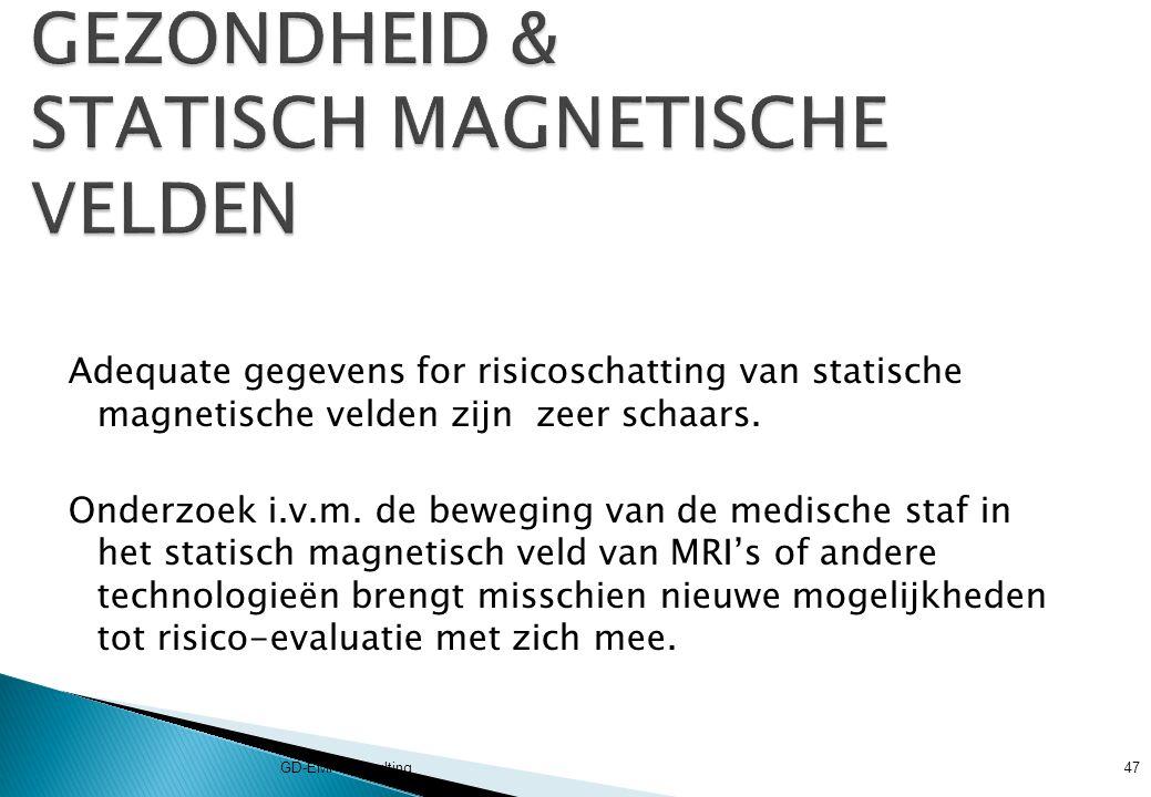 Adequate gegevens for risicoschatting van statische magnetische velden zijn zeer schaars.
