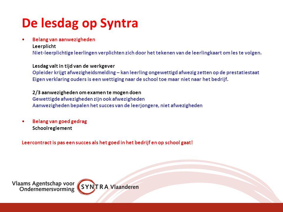 De lesdag op Syntra •Belang van aanwezigheden Leerplicht Niet-leerplichtige leerlingen verplichten zich door het tekenen van de leerlingkaart om les t