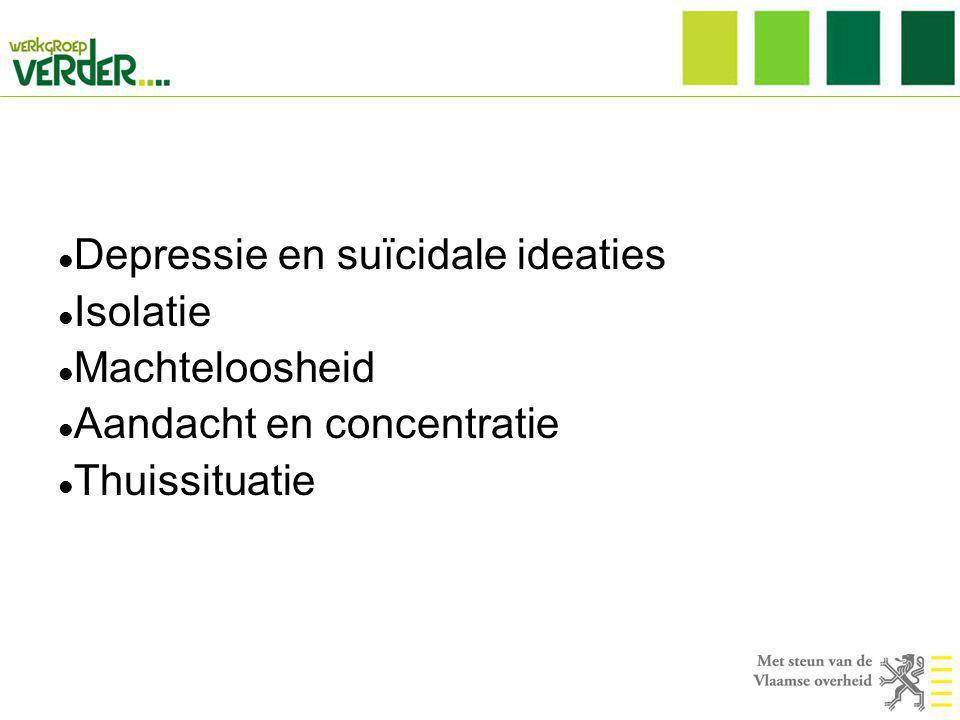  Depressie en suïcidale ideaties  Isolatie  Machteloosheid  Aandacht en concentratie  Thuissituatie