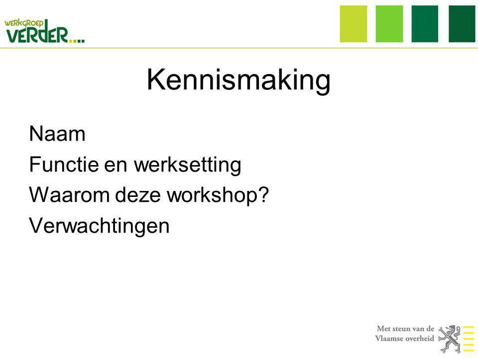 Kennismaking Naam Functie en werksetting Waarom deze workshop? Verwachtingen