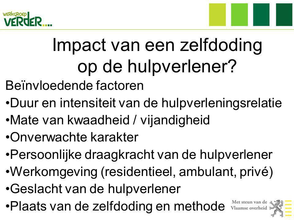 Impact van een zelfdoding op de hulpverlener? Beïnvloedende factoren •Duur en intensiteit van de hulpverleningsrelatie •Mate van kwaadheid / vijandigh