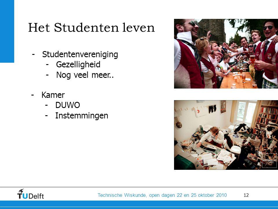 12 Technische Wiskunde, open dagen 22 en 25 oktober 2010 Het Studenten leven -Studentenvereniging -Gezelligheid -Nog veel meer.. -Kamer -DUWO -Instemm