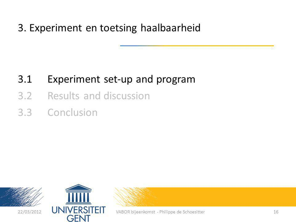 3. Experiment en toetsing haalbaarheid 3.1 Experiment set-up and program 3.2Results and discussion 3.3Conclusion 22/03/2012VABOR bijeenkomst - Philipp
