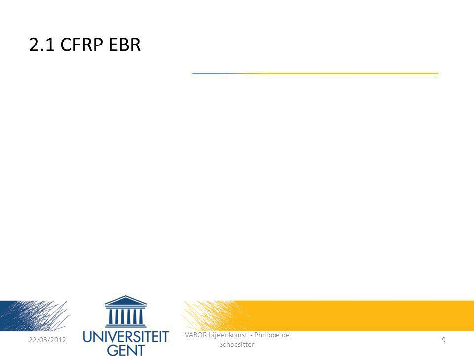 22/03/2012 VABOR bijeenkomst - Philippe de Schoesitter 20 Conductive epoxies: AdhesiveFiller Filler content (wt%) Bond strength [N/mm²] Resistivity [Ω.cm] Eccobond 50298Ni74-76>120,5 Eccobond 64CNi5,520,02 Eccobond 60L graphi te >1050 Eccobond 57 CAg>50<4,86x10 -4 ECC PC 5800 Carbo CB9,88(119,04) Epo-Tek 353NDCB12,97(78,72) 3.1 Experiment set-up and program