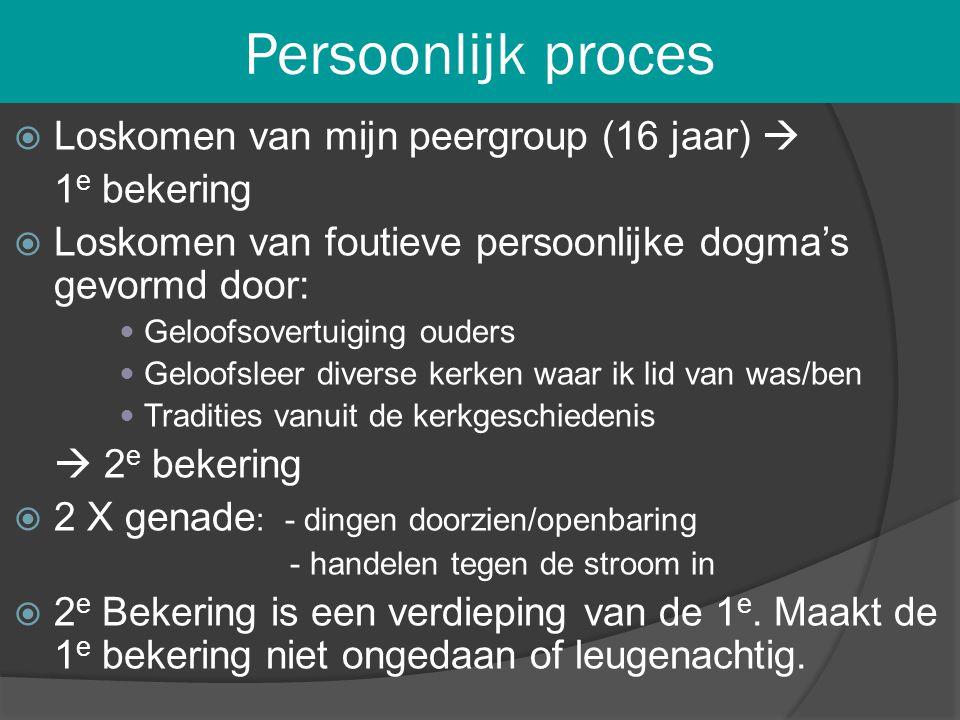 Persoonlijk proces  Loskomen van mijn peergroup (16 jaar)  1 e bekering  Loskomen van foutieve persoonlijke dogma's gevormd door:  Geloofsovertuig