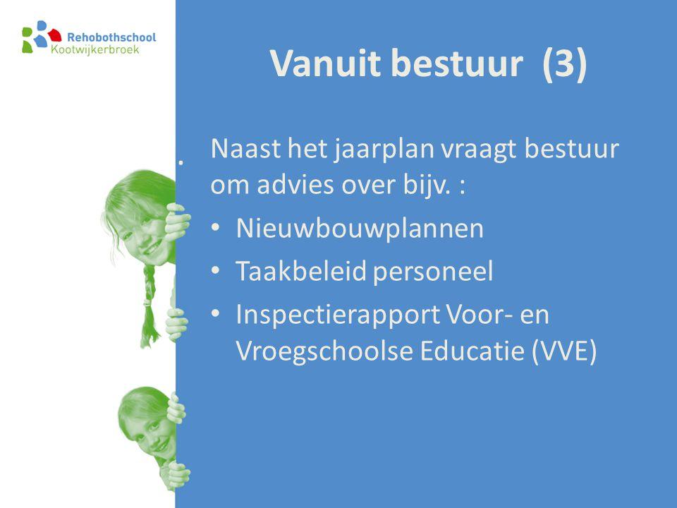 Vanuit bestuur (3) Naast het jaarplan vraagt bestuur om advies over bijv. : • Nieuwbouwplannen • Taakbeleid personeel • Inspectierapport Voor- en Vroe