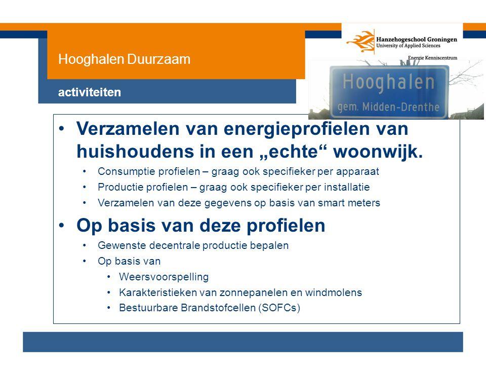 """Hooghalen Duurzaam activiteiten •Verzamelen van energieprofielen van huishoudens in een """"echte"""" woonwijk. •Consumptie profielen – graag ook specifieke"""
