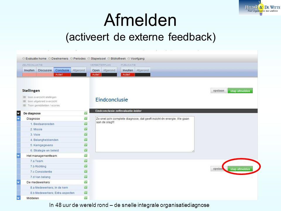 Afmelden (activeert de externe feedback) In 48 uur de wereld rond – de snelle integrale organisatiediagnose