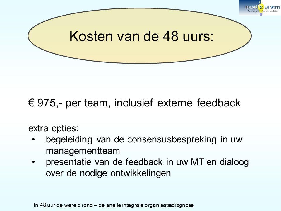 Kosten van de 48 uurs: € 975,- per team, inclusief externe feedback extra opties: •begeleiding van de consensusbespreking in uw managementteam •presen