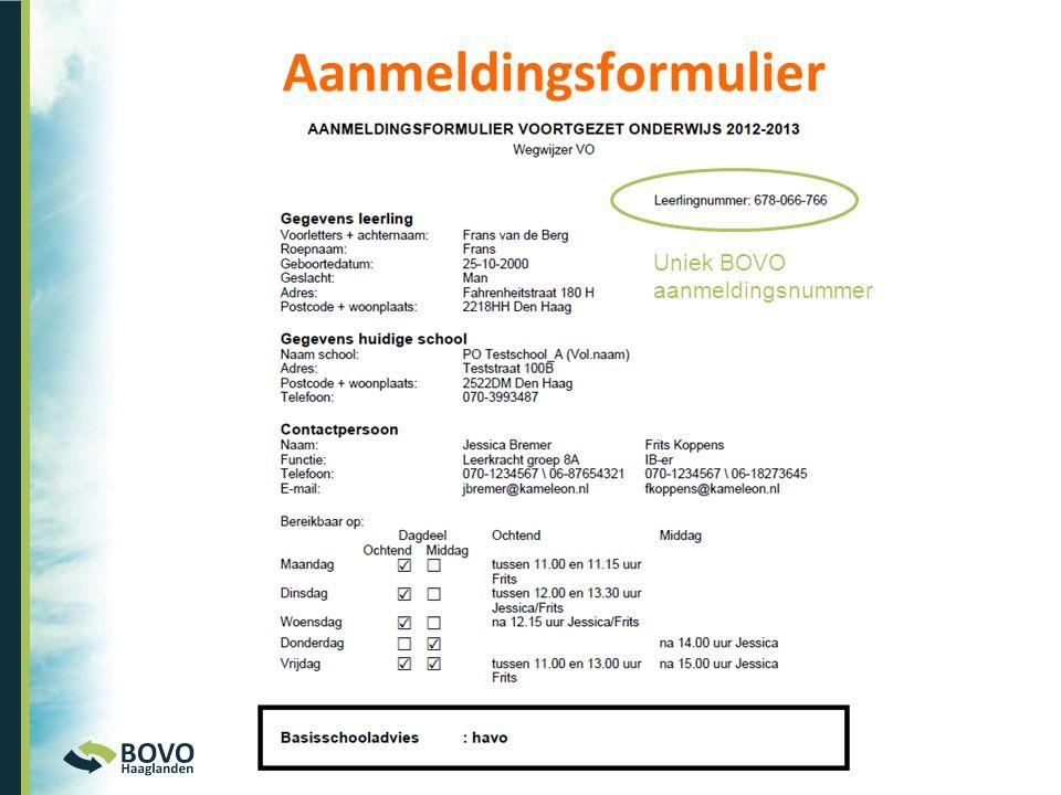 Uniek BOVO aanmeldingsnummer Aanmeldingsformulier