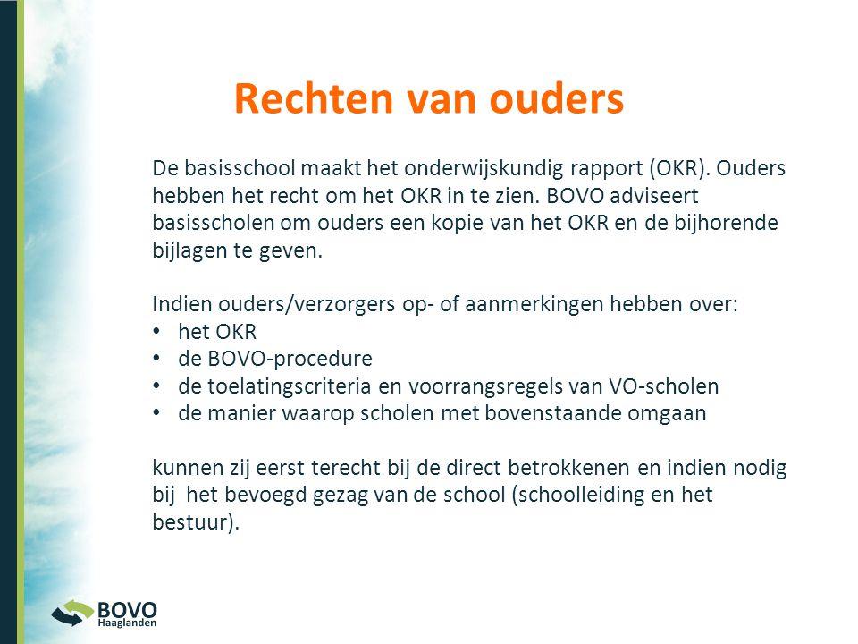 De basisschool maakt het onderwijskundig rapport (OKR). Ouders hebben het recht om het OKR in te zien. BOVO adviseert basisscholen om ouders een kopie
