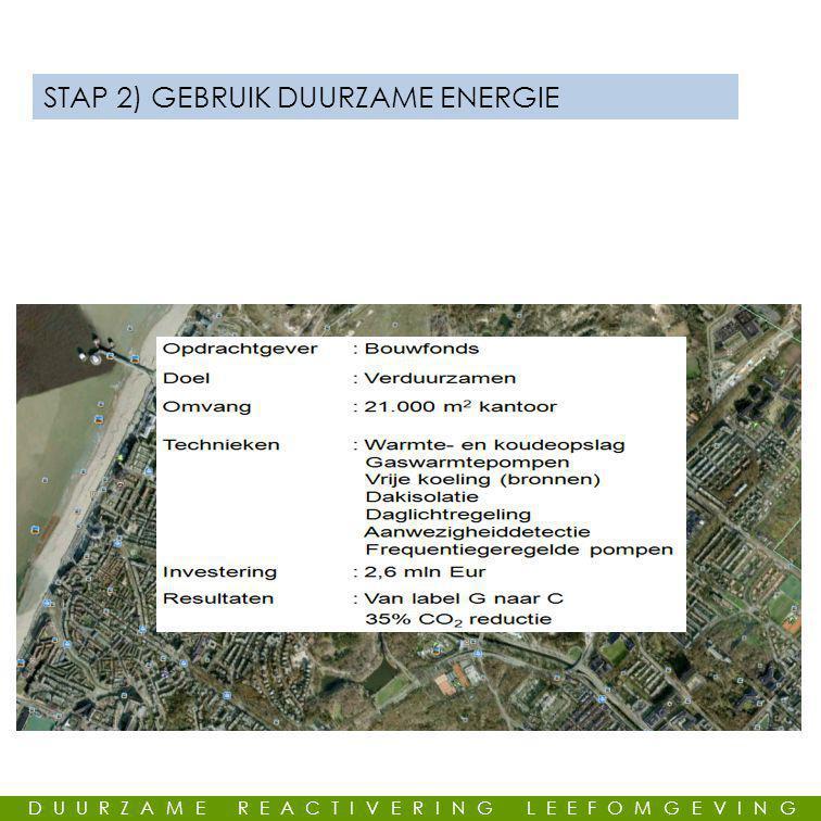 GEMEENSCHAPPELIJKE LEUS STAP 2) GEBRUIK DUURZAME ENERGIE DUURZAME REACTIVERING LEEFOMGEVING