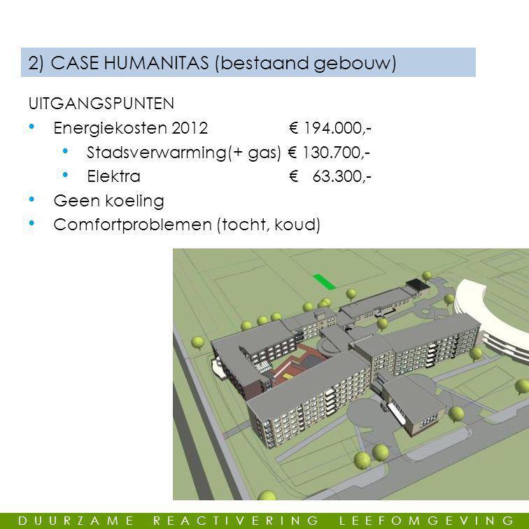GEMEENSCHAPPELIJKE LEUS 2) CASE HUMANITAS (bestaand gebouw) UITGANGSPUNTEN • Energiekosten 2012 € 194.000,- • Stadsverwarming(+ gas) € 130.700,- • Elektra € 63.300,- • Geen koeling • Comfortproblemen (tocht, koud) DUURZAME REACTIVERING LEEFOMGEVING