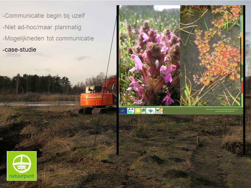 -Communicatie begin bij uzelf -Niet ad-hoc/maar planmatig -Mogelijkheden tot communicatie -case-studie
