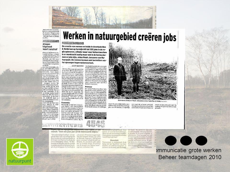 Communicatie grote werken Beheer teamdagen 2010